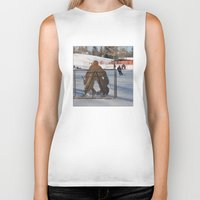 outdoor Biker Tanks featuring Outdoor hockey rink by RMK Creative