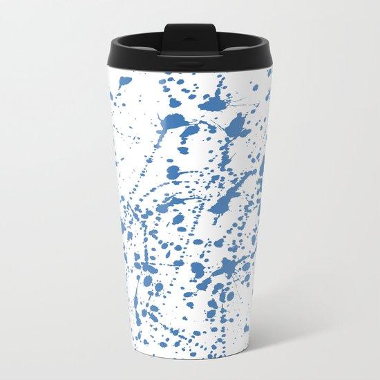 Splat Blue on White Metal Travel Mug