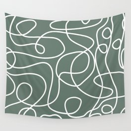 Doodle Line Art | White Lines on Dark Gray Green Wall Tapestry