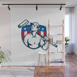 Handyman Painter Carrying Paint Roller Wall Mural