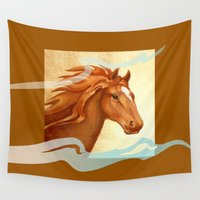 redhead Wall Tapestries featuring Redhead - Chestnut Hunter Horse by Patricia Howitt
