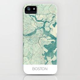Boston Map Blue Vintage iPhone Case