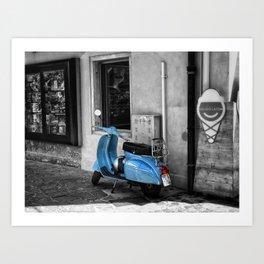 Blue Vespa in Venice Black and White Color Splash Photography Art Print