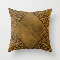 book cover Throw Pillows featuring Vintage Ornamental Book Cover by Nicolas Raymond