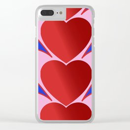 Hearts in line Clear iPhone Case