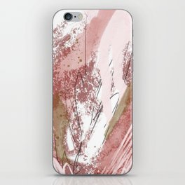 Sugar and Spice: a minimal, abstract mixed-media piece in pink and brown by Alyssa Hamilton Art iPhone Skin