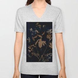 Botanicus 76 botanical blue floral vintage style handmade print Unisex V-Neck