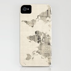 Map of the World Map from Old Postcards Slim Case iPhone (4, 4s)
