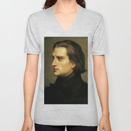 Franz Liszt (1811-1886) at 29. Painting by Charles Laurent Marechal (1801-1887). Unisex V-Neck