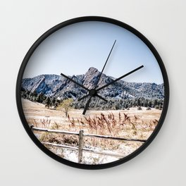 Flatirons Boulder // Colorado Scenery Mountain Landscape Snowfall Fence Line Wall Clock