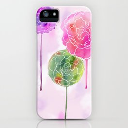 Succulent and Roses iPhone Case