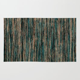 Teal and Metallic Rose Gold Marble Stripes Rug