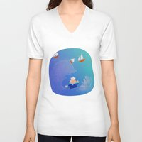 boats V-neck T-shirts featuring Little Boats by La Lanterne