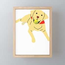 Cute Labrador Playing Fetch Framed Mini Art Print