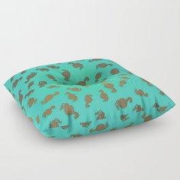 Copper Seahorses in an Aqua Sea Floor Pillow