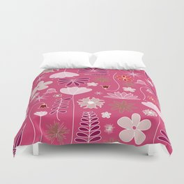 Miscellaneous flowers in a pink backgound Duvet Cover