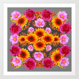 Charcoal Grey Red Pink Roses Golden Sunflowers Yellow Art Art Print