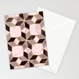 Luxury Flower Marble Mosaic Pattern Stationery Cards