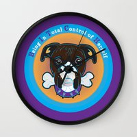 bitch Wall Clocks featuring Bitch by sophiedoodle
