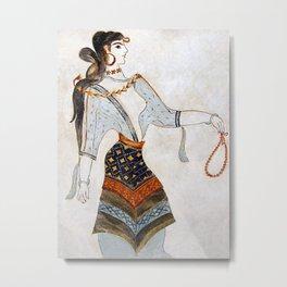 Minoan Woman with Beads Metal Print