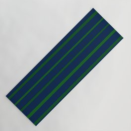Slate Blue and Emerald Green Stripes Yoga Mat