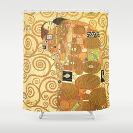 Lovers by Gustav Klimt 1909 // Cartoons for the Execution of a Frieze for the Dining Room of Stoclet Shower Curtain