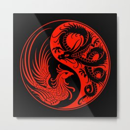 Red and Black Dragon Phoenix Yin Yang Metal Print
