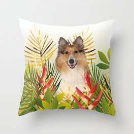 Collie Dog sitting in Garden Throw Pillow