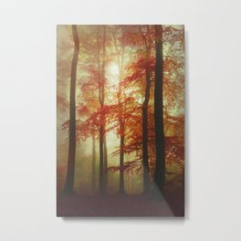Painted Forest - Moody Autumn Woodlands Metal Print