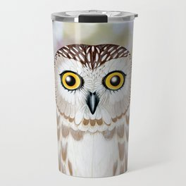 Northern saw whet owl woodland animal portrait Travel Mug