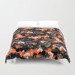 Mount Cook Lily - Orange/Black Duvet Cover