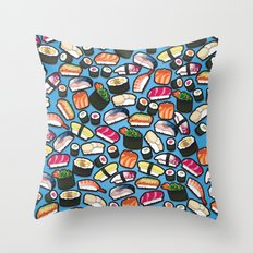 Sushi Blue Throw Pillow