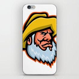 Old Fisherman or Fisher Mascot iPhone Skin