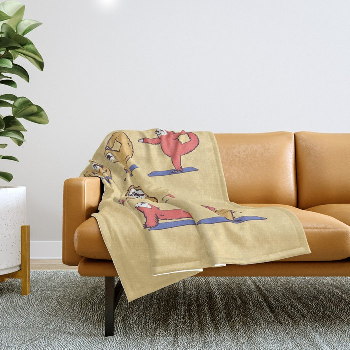 Sloth Yoga Throw Blanket