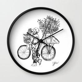 Bicycle Flower Seller in Hanoi in Pencil Wall Clock