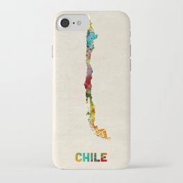 Chile Watercolor Map iPhone Case