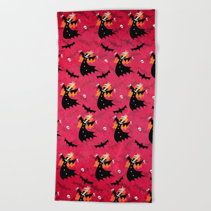 Unicorn Vampire Pattern Beach Towel