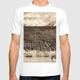 Detroit Michigan Bird's Eye Map T-shirt