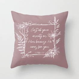 Cast Your Anxiety Wildflower Frame Bible Verse Throw Pillow
