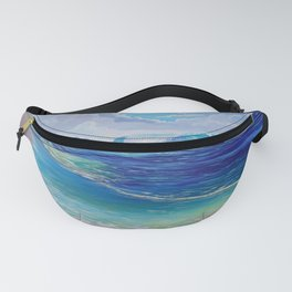 Saint Lucia Tropical Beach Scene Giant Wave and Pitons Mountains Fanny Pack