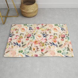 Hand painted ivory pink brown watercolor country floral Rug