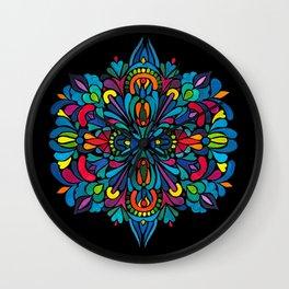 Tropical flower mandala - on black Wall Clock
