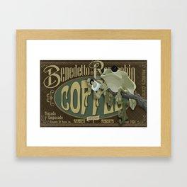 Frog & Coffee by Paulo Coruja Framed Art Print