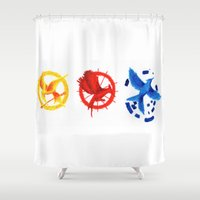 mockingjay Shower Curtains featuring The H Games - Mockingjay by Blanca MonQnill Sole