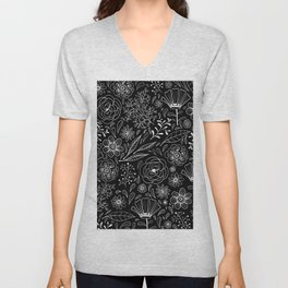 Floral pattern Black and White 3 Unisex V-Neck