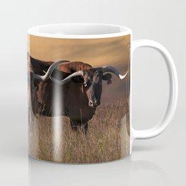 Texas Longhorn Steers on the Prairie at Sunset Coffee Mug