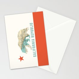 California Bear Flag with Vintage Map Stationery Cards