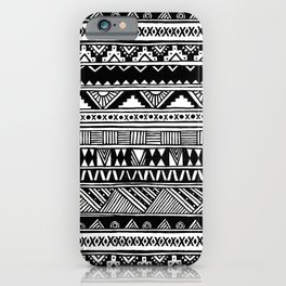 Black White Cute Girly Urban Tribal Aztec Andes Abstract Geometric Hand-drawn Pattern iPhone Case
