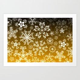 Symbols in Snowflakes on Gold Art Print