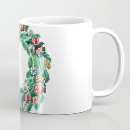 Christmas wreath. New Year decoration. Adornment coniferous green with cones, balls, snowflakes red bows. Coffee Mug